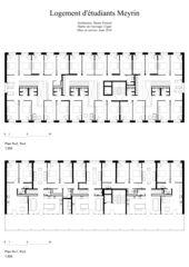 Grundrisse 1. + 3. und 2. + 4. Stock 1:200 Logement d'étudiants à Meyrin von Dreier Frenzel