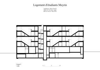 Schnitt C 1:200 Logement d'étudiants à Meyrin von Dreier Frenzel