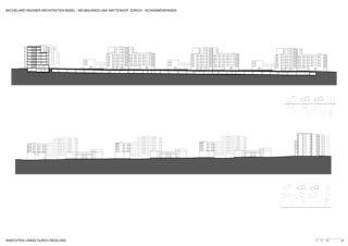 Ansichten längs Neubausiedlung Mattenhof in Zürich-Schwamendingen von Bachelard Wagner Architekten ETH SIA BSA
