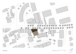 Situationsplan Immeuble de 6 logements, commerce et garage von Architectes epfl fas<br/>
