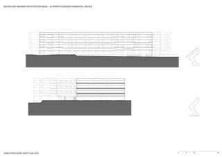 Elevations nord-ouest et sud Alterspflegeheim Humanitas de Bachelard Wagner Architekten ETH SIA BSA