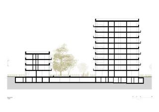 Coupe transversale Lutzertgarten Muttenz de Rosenmund + Rieder Architekten BSA SIA AG