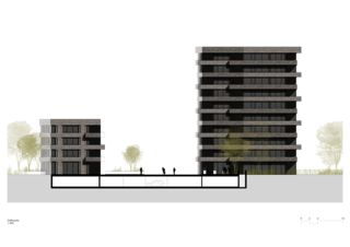 Façade sud Lutzertgarten Muttenz de Rosenmund + Rieder Architekten BSA SIA AG