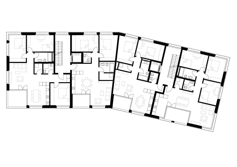 Rez-de-chaussée et 1er étage Mehrfamilienhaus «In der Ey» de merkli degen architekten eth