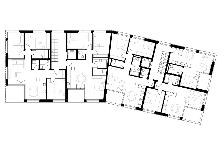 2e et 3e étage Mehrfamilienhaus «In der Ey» de merkli degen architekten eth