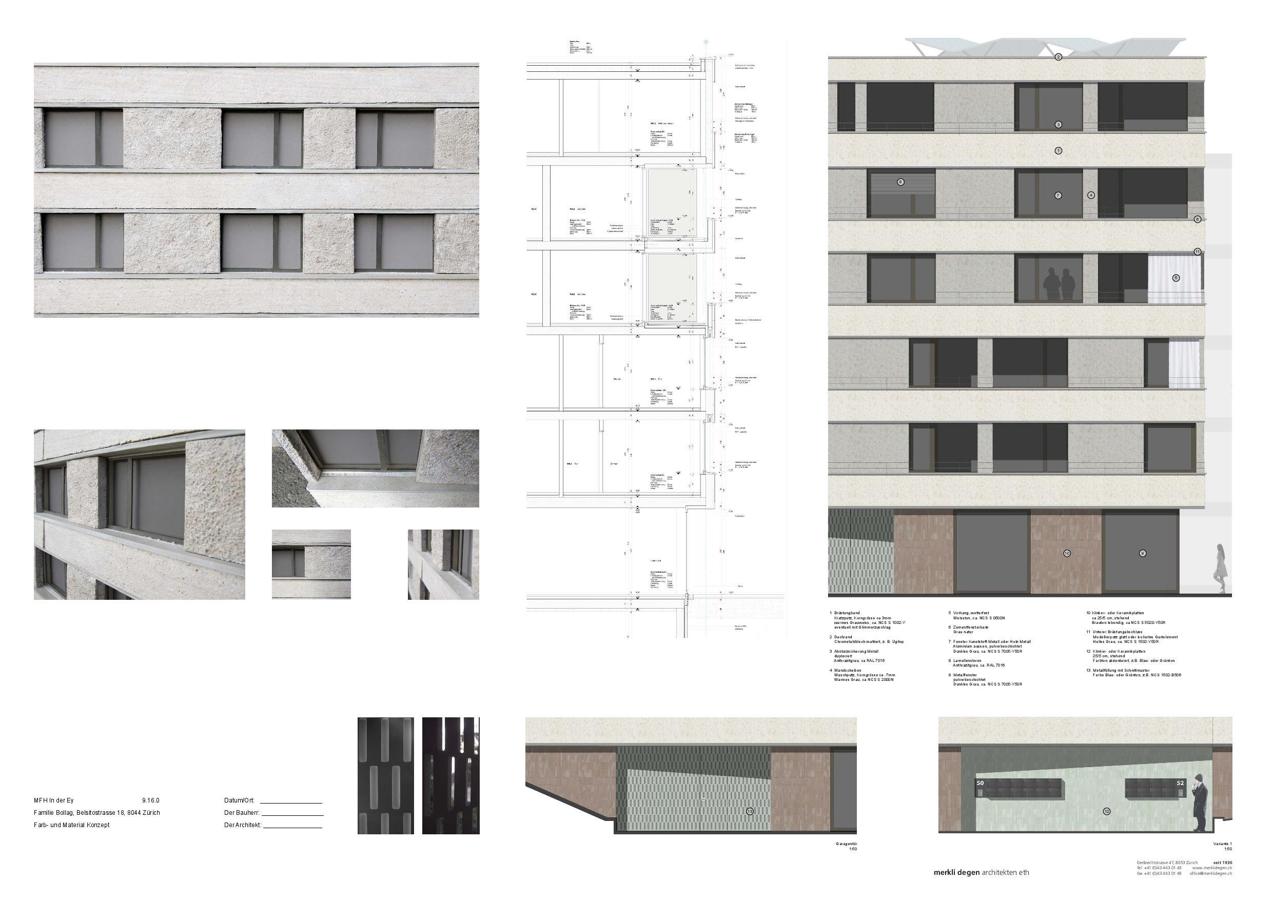 Coupe détaillée Mehrfamilienhaus «In der Ey» de merkli degen architekten eth