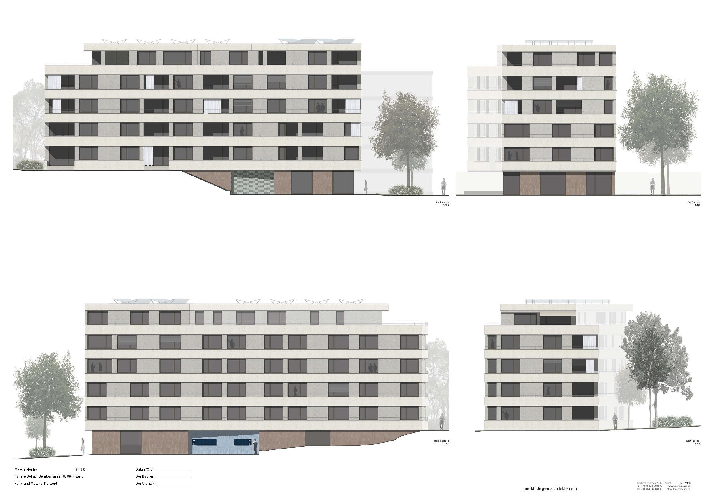 Façades Mehrfamilienhaus «In der Ey» de merkli degen architekten eth