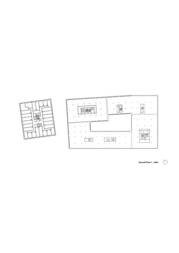 Grundriss 2. OG Europaallee - Baufeld H de E2A Piet Eckert und Wim Eckert Architekten ETH BSIA SIA AG