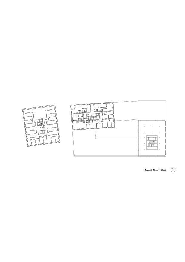 Grundriss 7. OG Europaallee - Baufeld H von E2A Piet Eckert und Wim Eckert Architekten ETH BSIA SIA AG