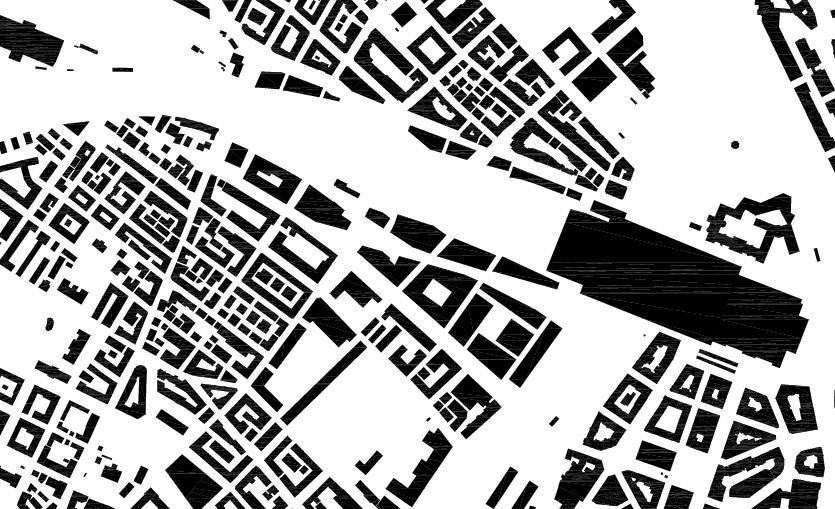 Schwarzplan Europaallee - Baufeld H von E2A Piet Eckert und Wim Eckert Architekten ETH BSIA SIA AG