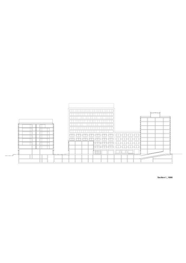 Schnitt Europaallee - Baufeld H von E2A Piet Eckert und Wim Eckert Architekten ETH BSIA SIA AG