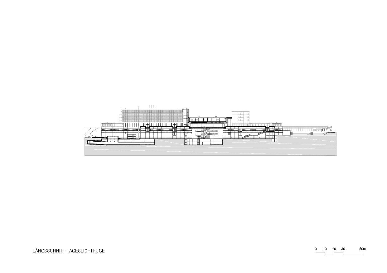 Coupe longitudinale Rehaklinik Bellikon de Architekten Generalplaner<br/>