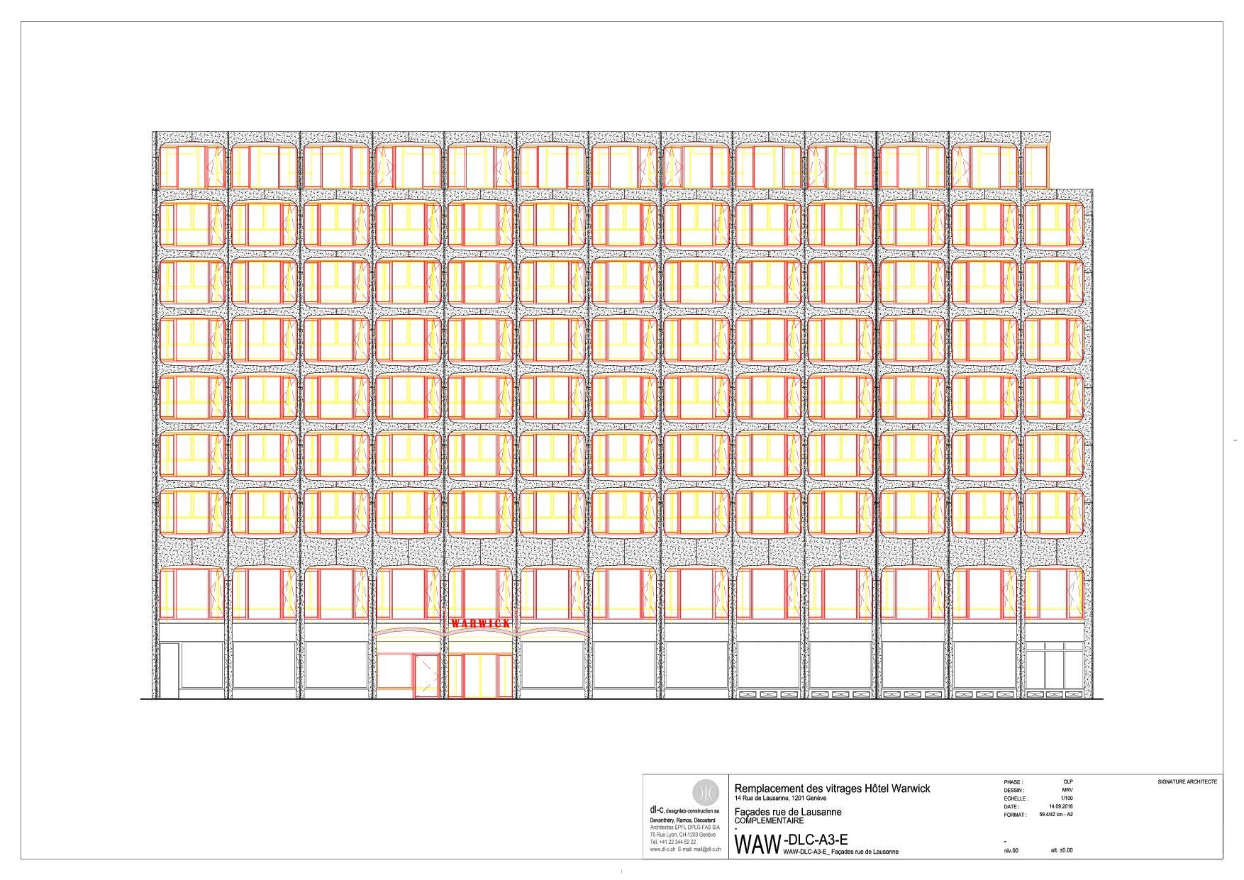 Façade Rue de Lausanne Rénovation de façade à l'hôtel Warwick  de dl-c, designlab-construction sa