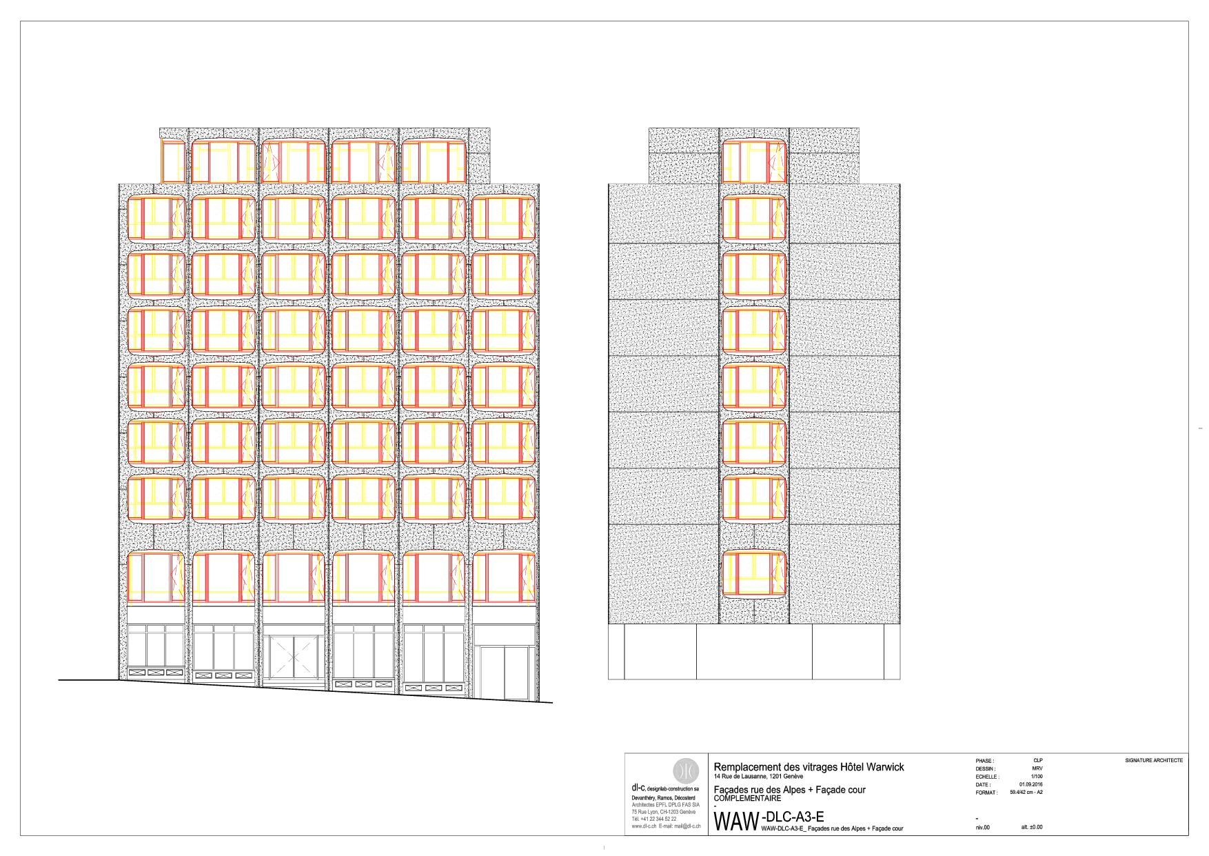 Façade Rue des Alpes Rénovation de façade à l'hôtel Warwick  de dl-c, designlab-construction sa