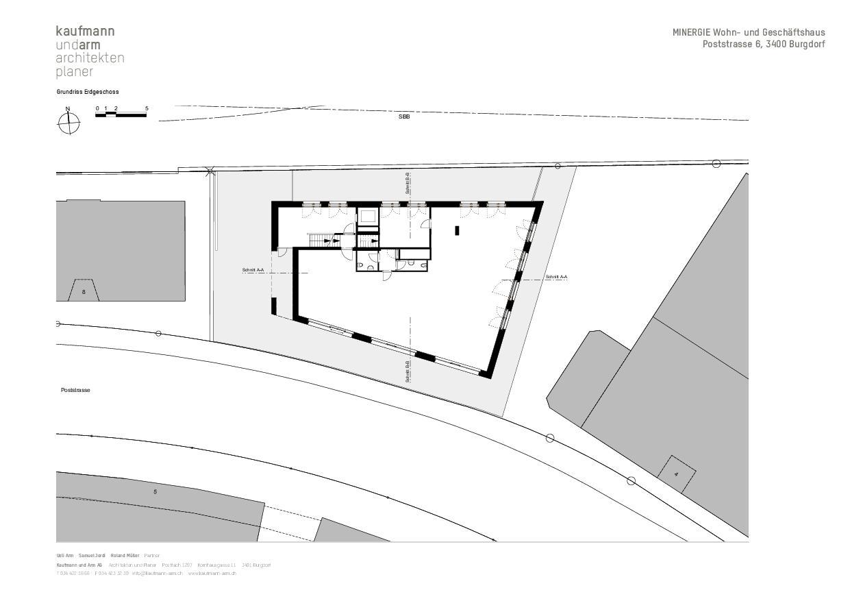 Grundriss EG MINERGIE Wohn- und Geschäftshaus Poststrasse 6, Burgdorf von Architekten und Planer<br/>