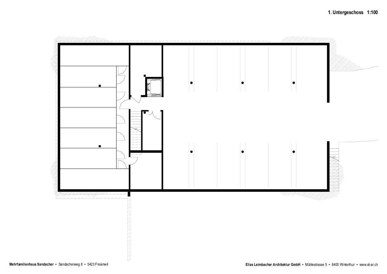 Untergeschoss Neubau mit Gestaltungsplan von Elias Leimbacher Architektur GmbH