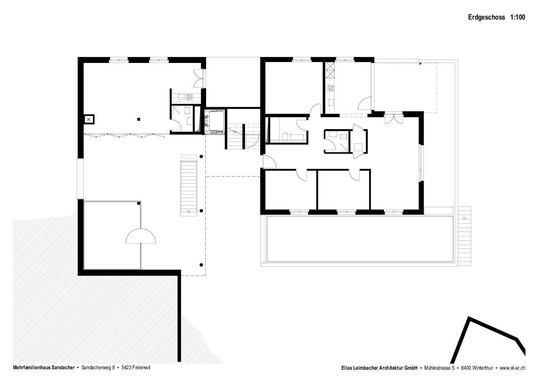 Plan rez-de-chaussée Neubau mit Gestaltungsplan de Elias Leimbacher Architektur GmbH