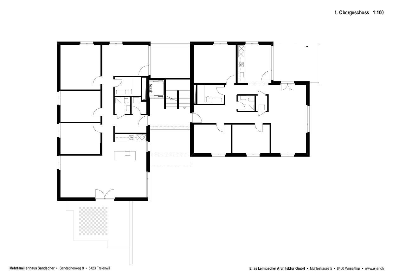 1.Obergeschoss Neubau mit Gestaltungsplan von Elias Leimbacher Architektur GmbH