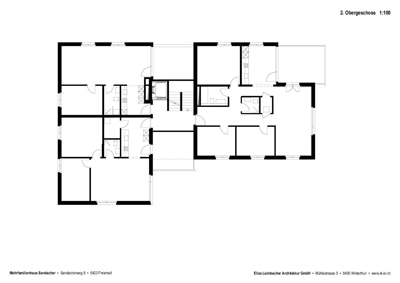 Plan niveau 2 Neubau mit Gestaltungsplan de Elias Leimbacher Architektur GmbH