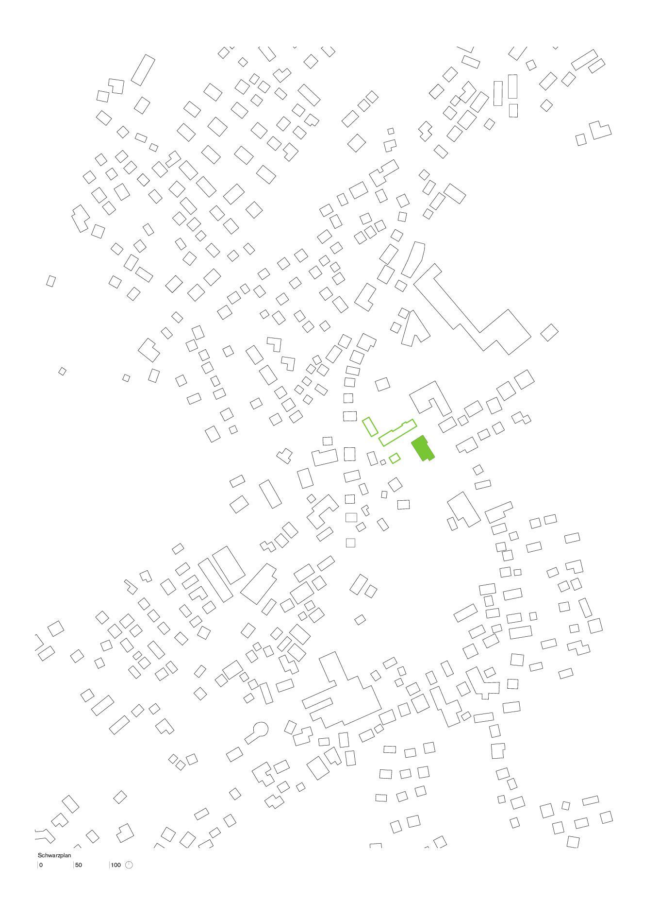 Schwarzplan Erweiterung Primarschule Täuffelen de Morscher Architekten BSA SIA AG