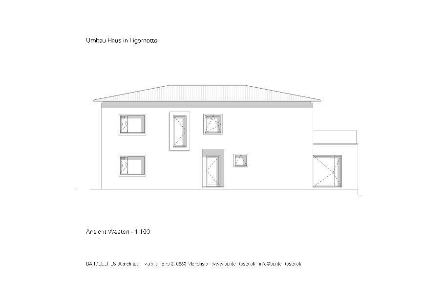 Ansicht Westen Umbau Haus in Ligornetto von BARDELLITESTA architetti