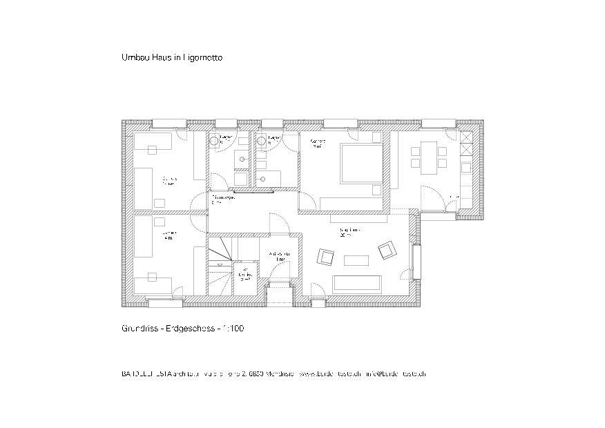 Grundriss EG Umbau Haus in Ligornetto von BARDELLITESTA architetti