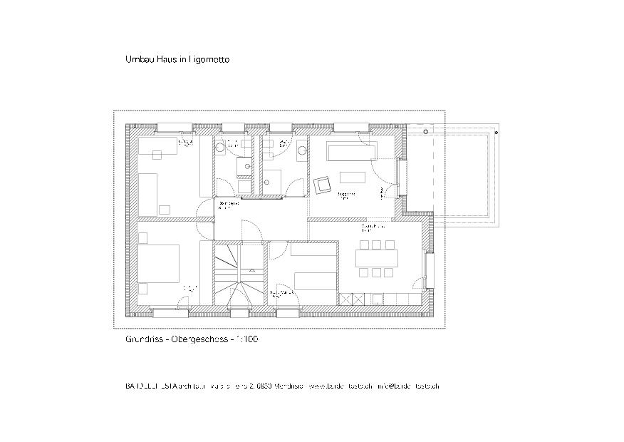 Grundriss OG Umbau Haus in Ligornetto von BARDELLITESTA architetti