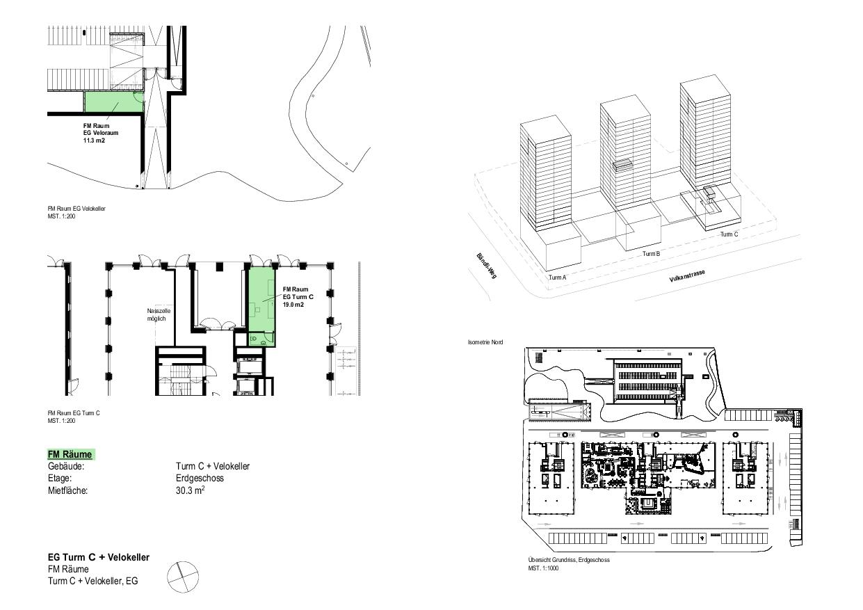 EG Turm C und Velokeller Vulcano von Dominique Perrault Architecture SA