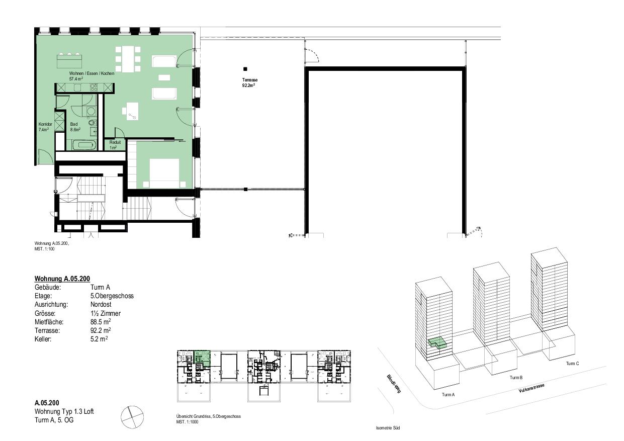 Wohnung Typ 1.3 LoftTurm A, 5. OG Vulcano von Dominique Perrault Architecture SA