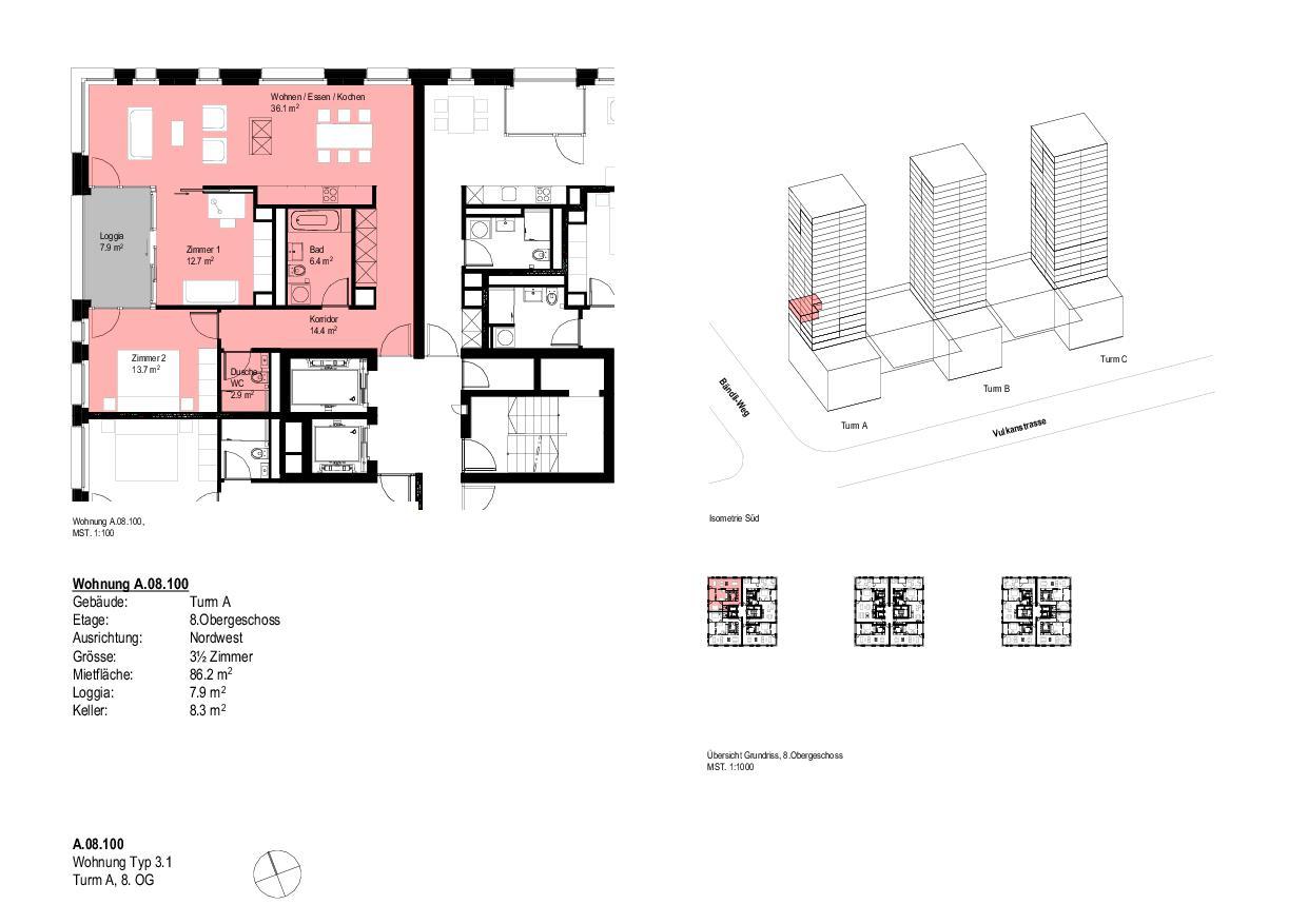 Wohnung Typ 3.1Turm A, 8. OG Vulcano von Dominique Perrault Architecture SA
