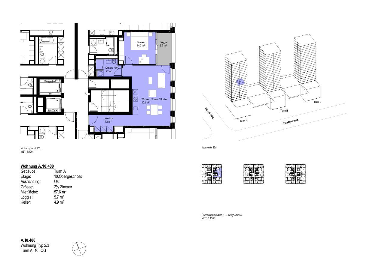 Wohnung Typ 2.3Turm A, 10. OG Vulcano von Dominique Perrault Architecture SA