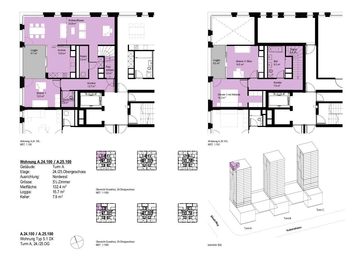 Wohnung Typ 5.1 DXTurm A, 24./25.OG Vulcano von Dominique Perrault Architecture SA
