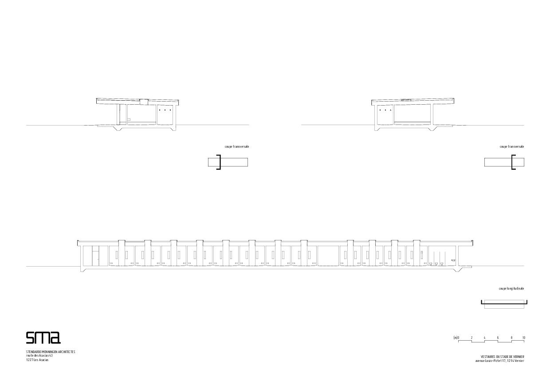 coupe transversale et coupe longitudinale Stade de Vernier de STENDARDO MENNINGEN ARCHITECTES