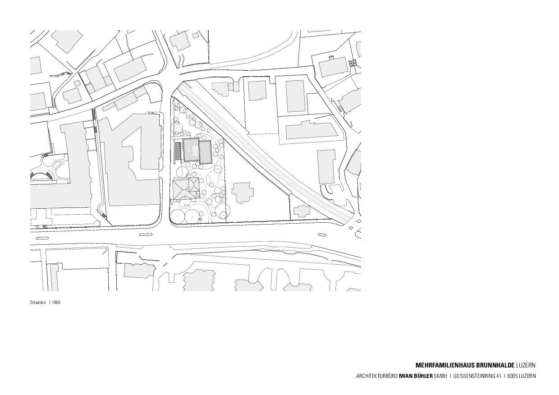 Situation Stadthaus Brunnhalde de Architekturbüro Iwan Bühler GmbH