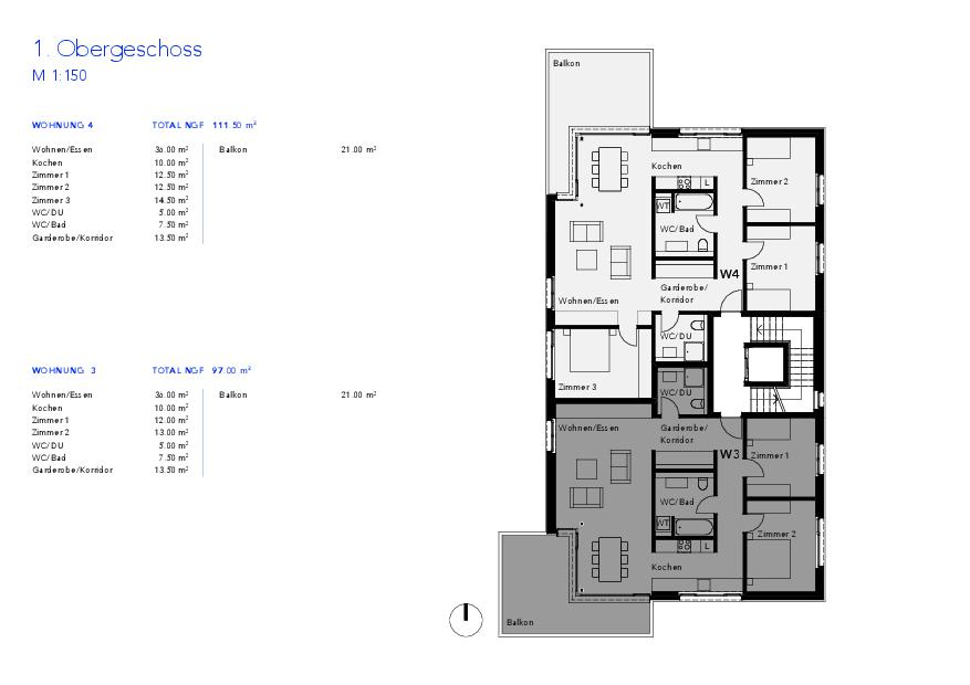 Niveau 1 Haus VIVO de Wyss Architektur + Bauleitung GmbH