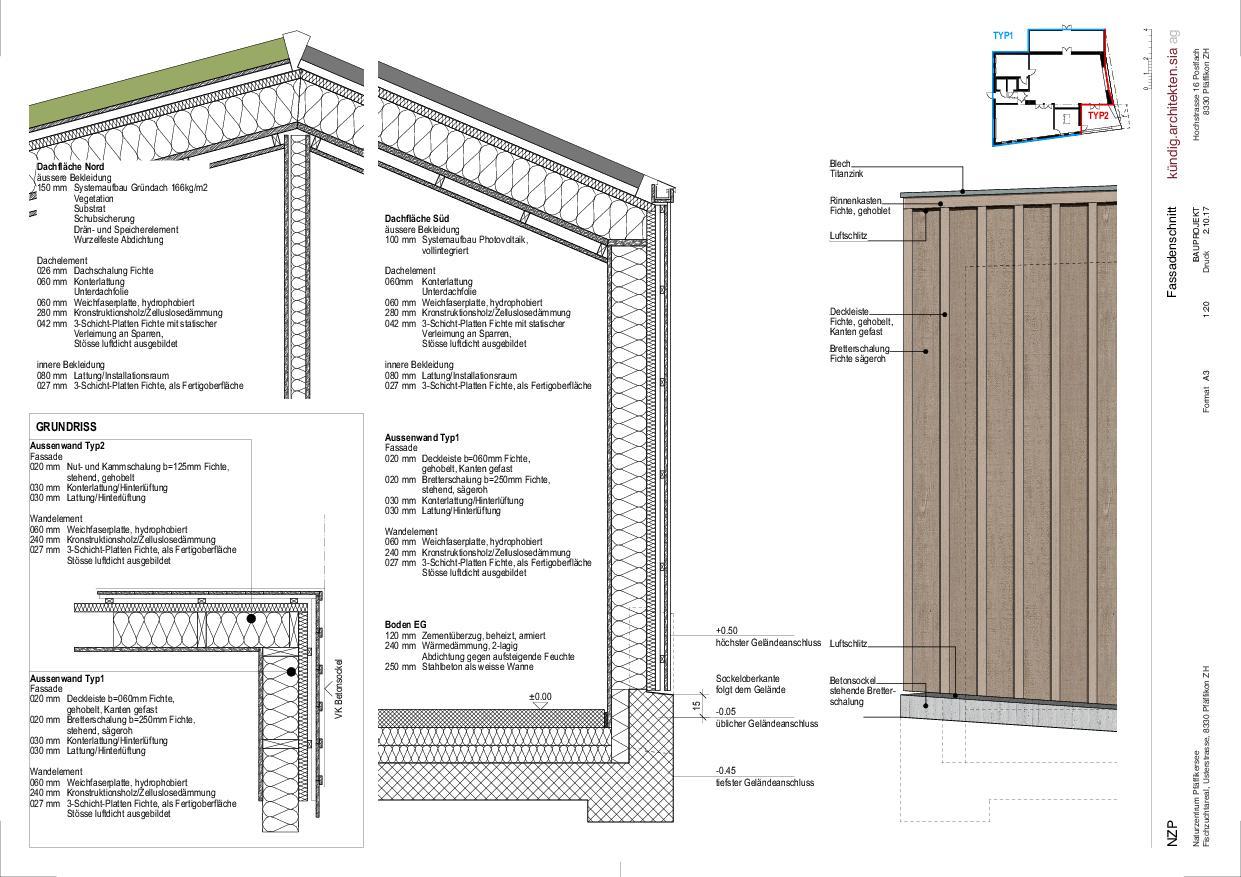 Coupe façade Naturzentrum Pfäffikersee de Kündig Architekten SIA AG