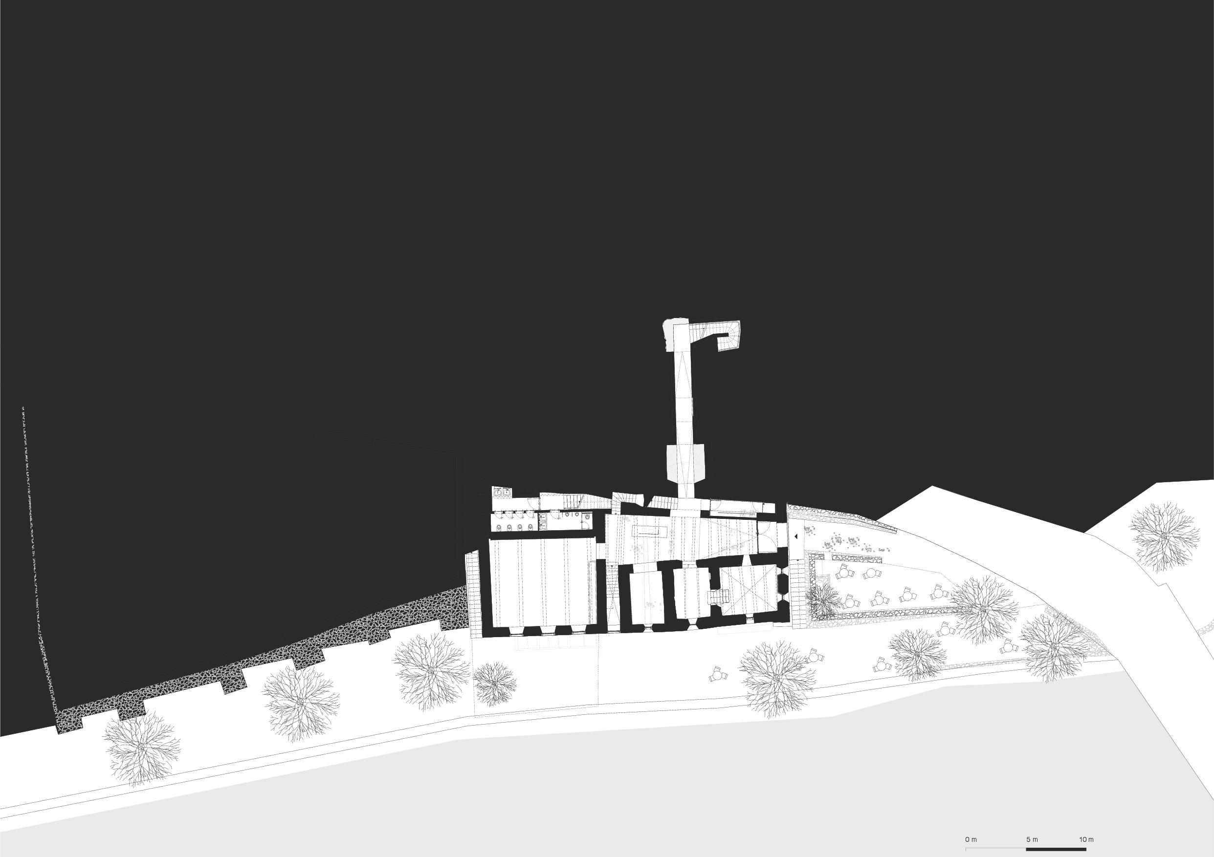 Plan du sous-sol Muzeum Susch de Schmidlin Architekten ETH SIA