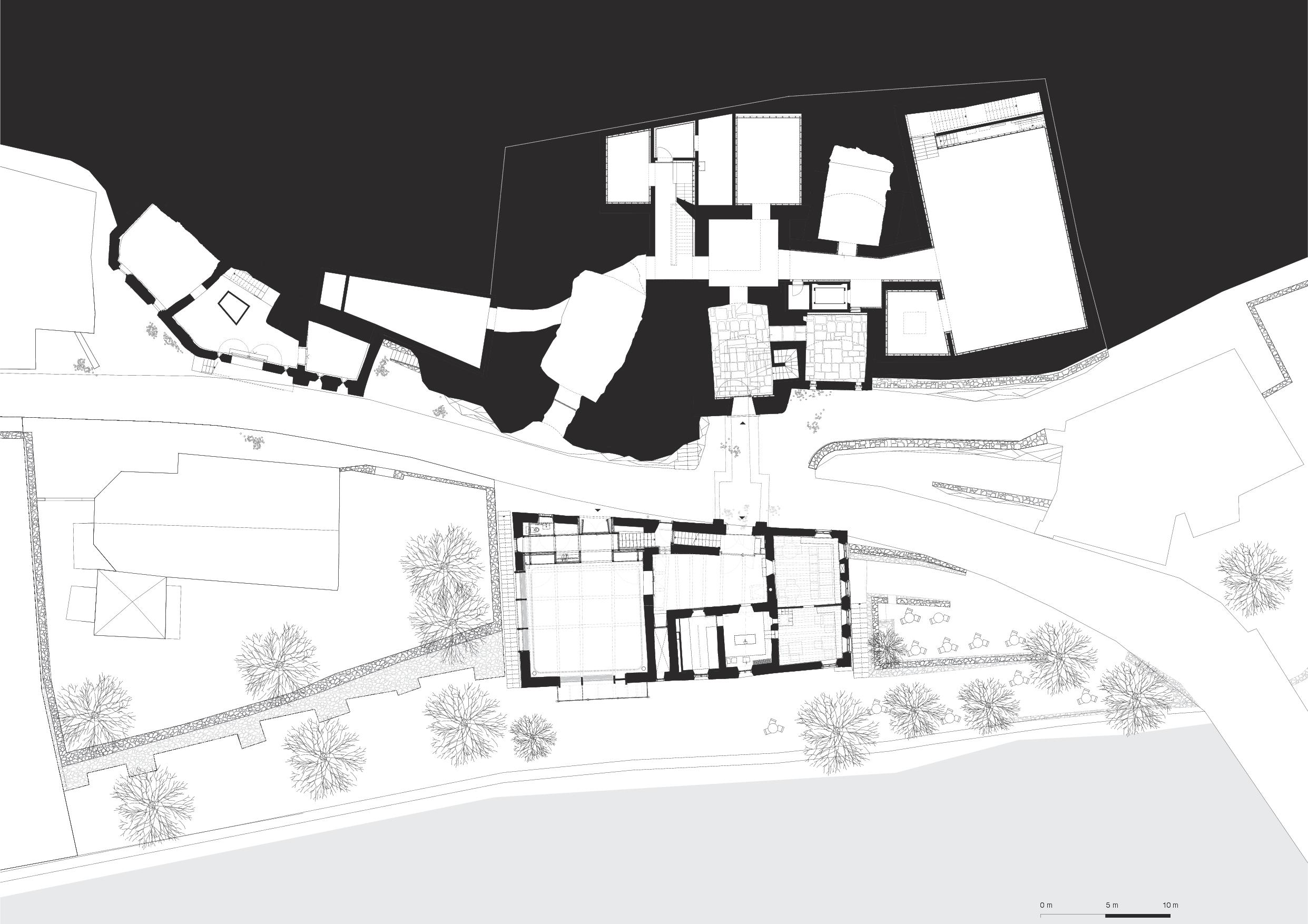Plan du rez-de-chaussée Muzeum Susch de Schmidlin Architekten ETH SIA