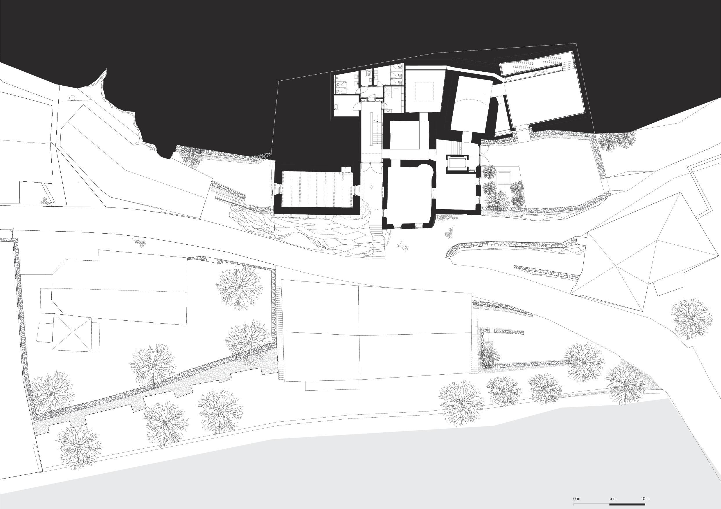 Plan 1er étage Muzeum Susch de Schmidlin Architekten ETH SIA