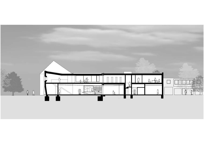 Längsschnitt  Papiermuseum Düren von Hollenbeck Architektur