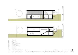 Längsschnitte 1 und 3 EFH Kama von Katrin und Marc Spirig-Friedrich Architekten
