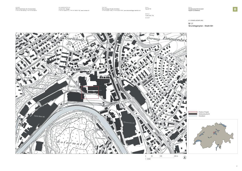 Situationsplan Bürogebäude als Ersatzneubau Emmenweid von baumschlager eberle