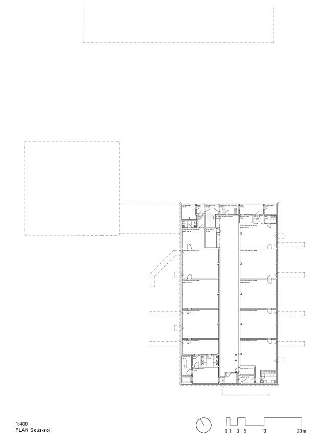 Grundriss Untergeschoss Ecole primaire et enfantine d'Ursy FR von RUFFIEUX-CHEHAB ARCHITECTES SA