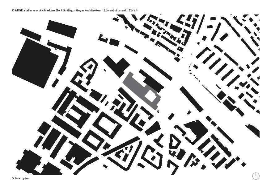 Schwarzplan Löwenbräuareal von atelier ww Architekten SIA AG
