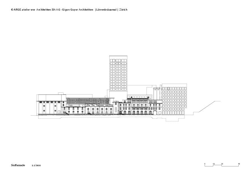 Südfassade Löwenbräuareal von atelier ww Architekten SIA AG