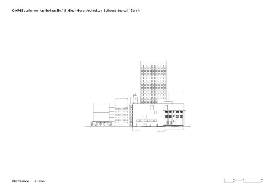 Westfassade Löwenbräuareal von atelier ww Architekten SIA AG