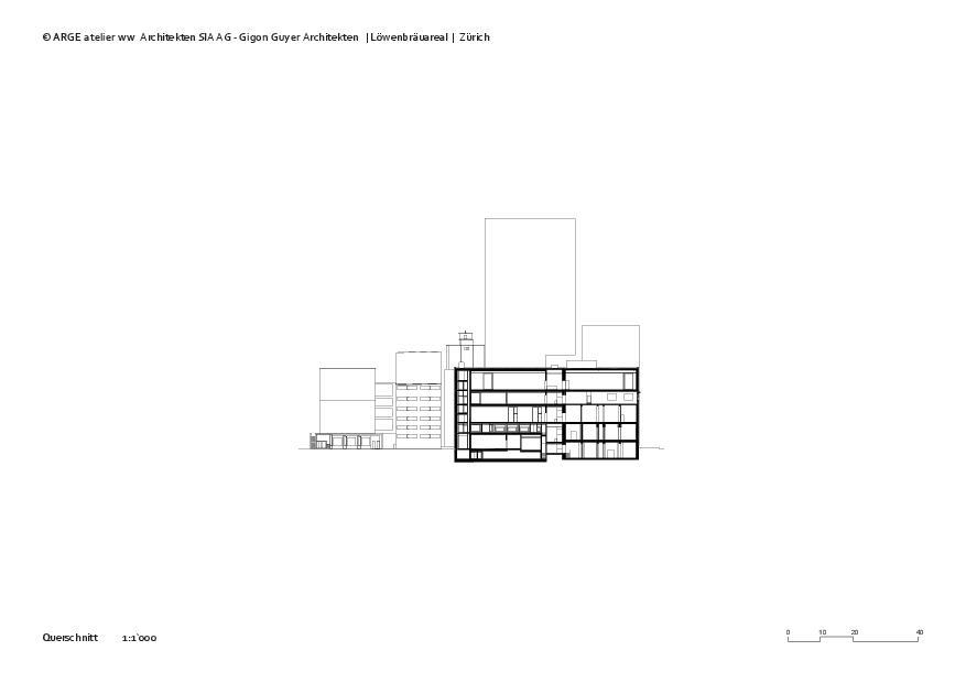 Querschnitt Löwenbräuareal von atelier ww Architekten SIA AG
