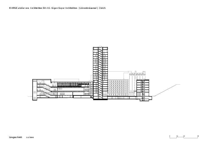 Längsschnitt 1 Löwenbräuareal von atelier ww Architekten SIA AG