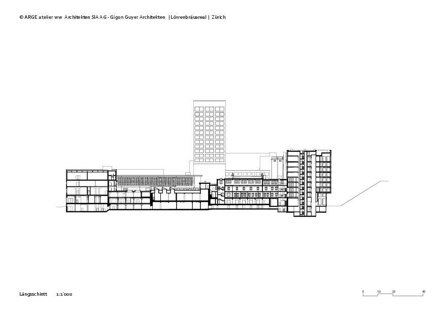 Längsschnitt 2 Löwenbräuareal von atelier ww Architekten SIA AG