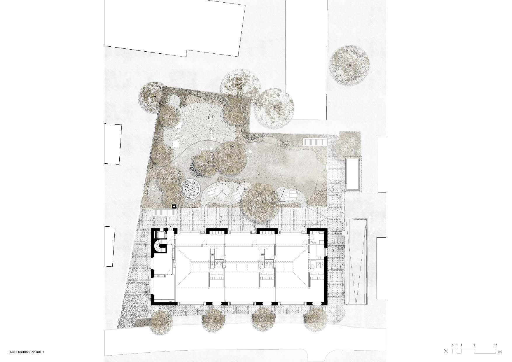 Grundriss Erdgeschoss Dreifachkindergarten in Würenlingen von ARGE Malte Kloes & Christoph Reichen